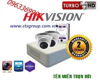 Trọn bộ hệ thống 2 camera 1.0MP HiKvision