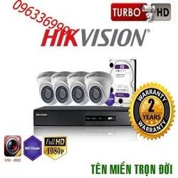 Trọn bộ hệ thống 4 camera 1.0MP Hikvision