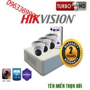 Trọn bộ hệ thống 3 camera 1.0MP HiKvision